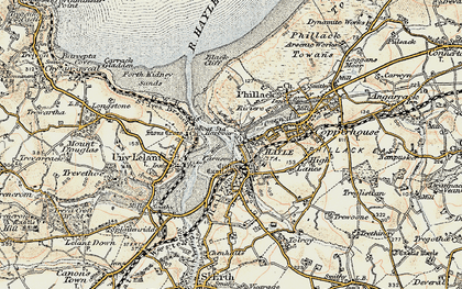Old map of Hayle in 1900