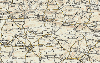 Old map of Stockadon in 1899-1900