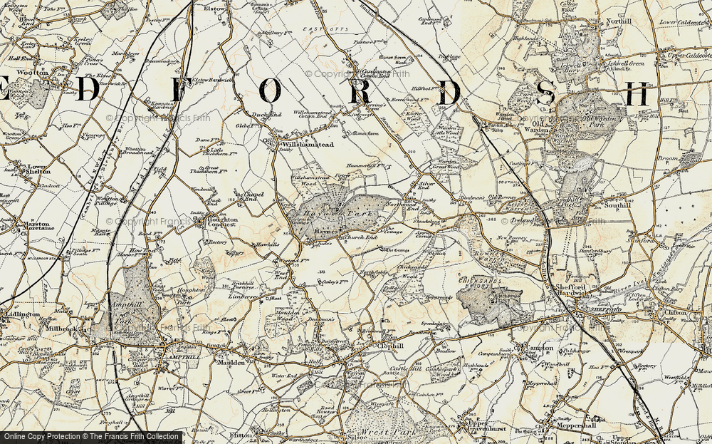 Old Map of Historic Map covering Bedfordshire in 1898-1901