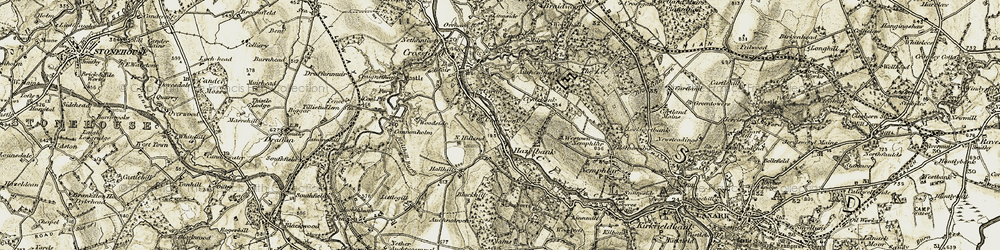 Old map of West-town of Nemphlar in 1904-1905