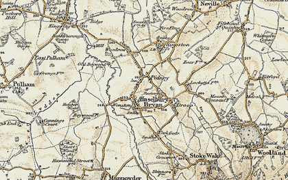 Old map of Hazelbury Bryan in 1897-1909
