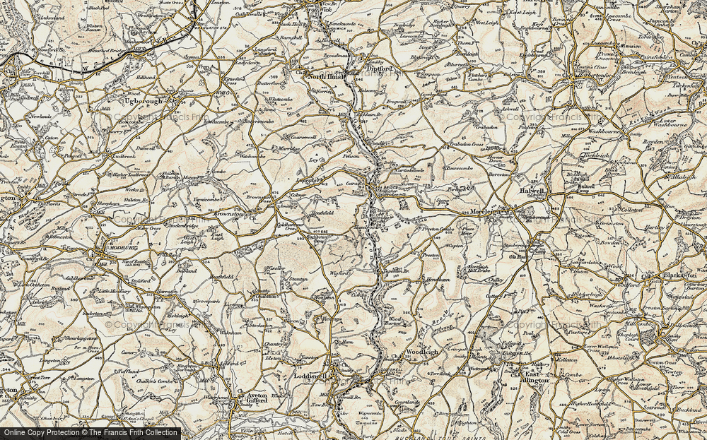 Old Map of Historic Map covering Gara Bridge in 1899