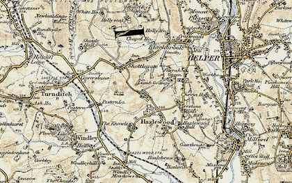 Old map of Windley Meadows in 1902