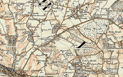 Old map of Hazlemere in 1897-1898