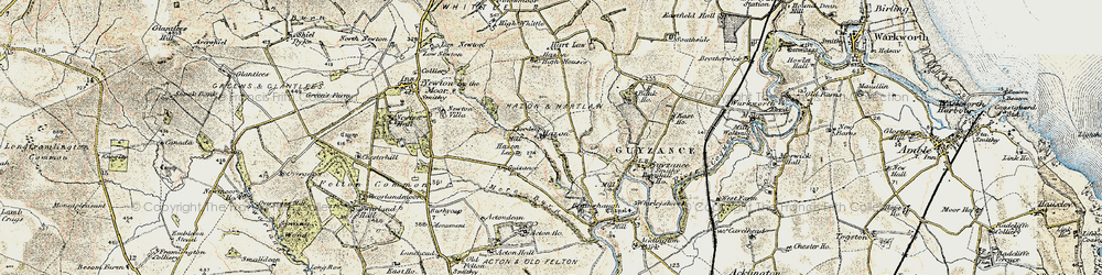 Old map of Acton Ho in 1901-1903