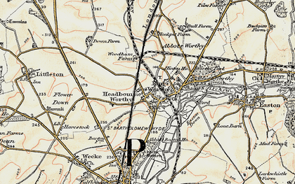 Old map of Headbourne Worthy in 1897-1900