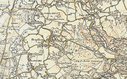 Old map of Headley Down in 1897-1909