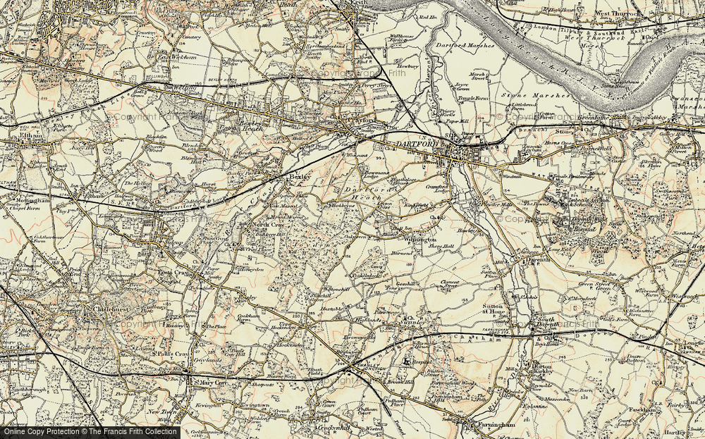 Old Map of Historic Map covering Leyton Cross in 1897-1898
