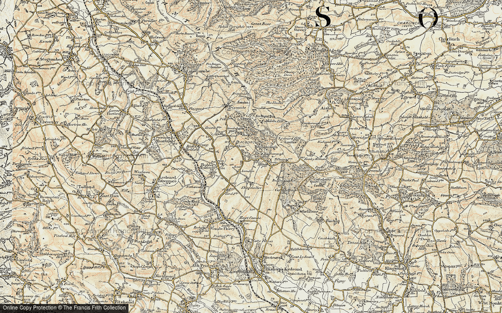 Old Map of Historic Map covering Bagborough Ho in 1898-1900