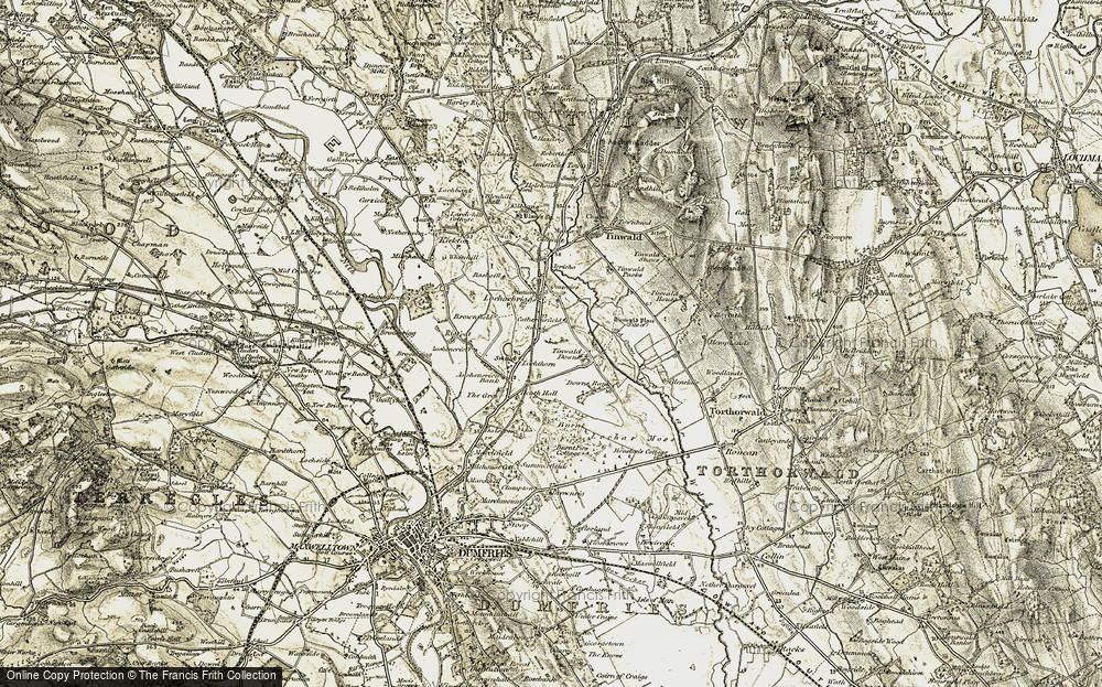Old Map of Historic Map covering Auchencrieff in 1901-1905