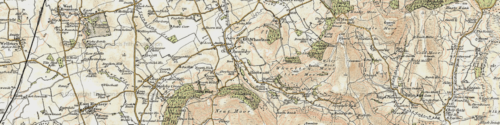 Old map of Whorlton Ho in 1903-1904
