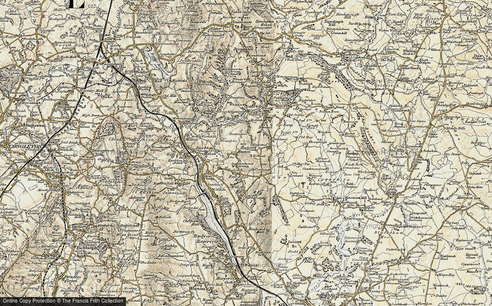 Old Map of Historic Map covering Axstones Spring in 1902-1903