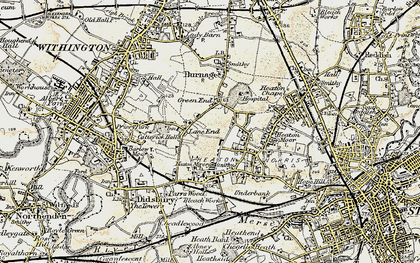 Old map of Heaton Mersey in 1903