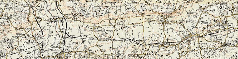Old map of Yaldham Manor in 1897-1898