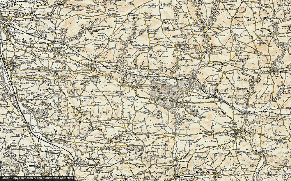 Old Map of Historic Map covering Leary Moors in 1900