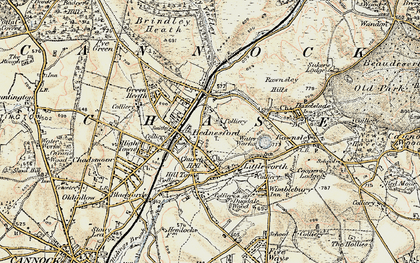 Old map of Hednesford in 1902