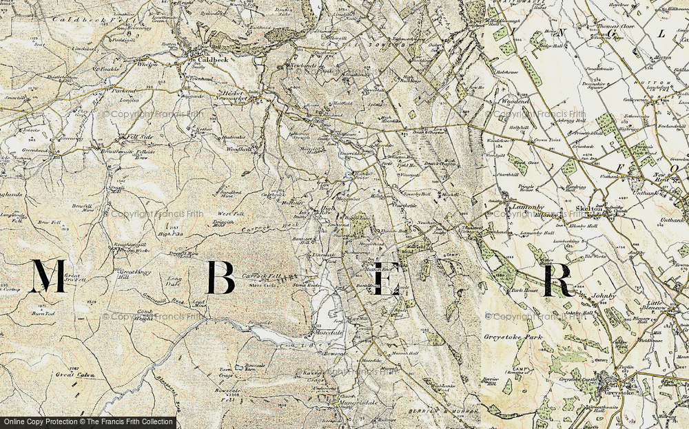 Old Map of Historic Map covering Thwaite Hall in 1901-1904