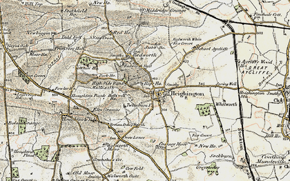Old map of Heighington in 1903-1904