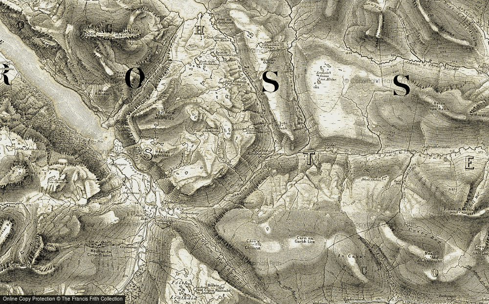 Old Map of Historic Map covering Allt Guibhais in 1908-1909