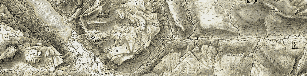 Old map of Wester Ross in 1908-1909