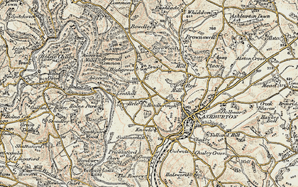 Old map of Ausewell Rocks in 1899