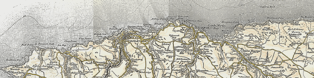 Old map of Hele in 1900