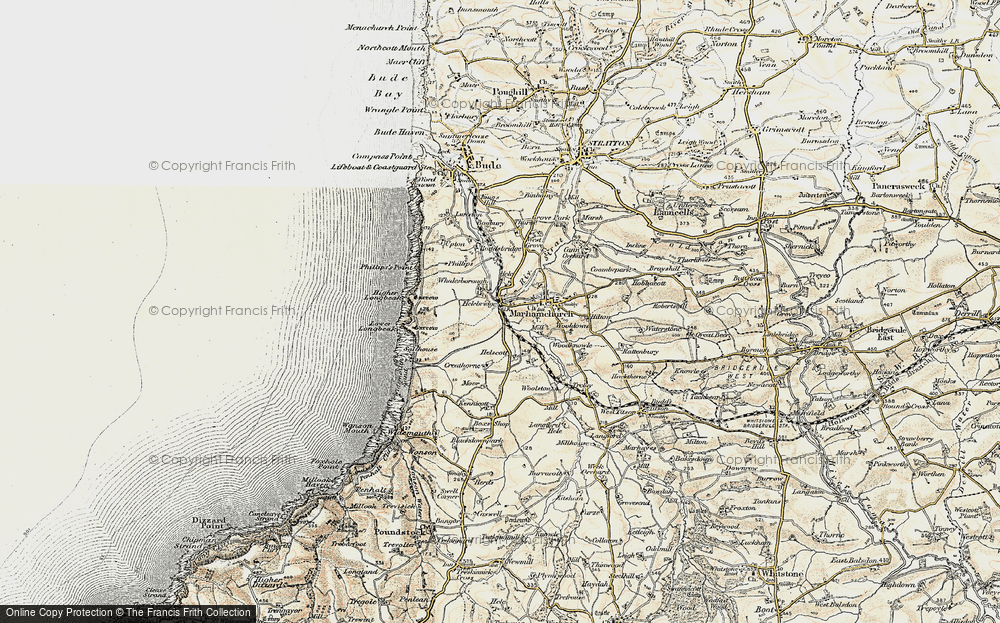 Old Map of Historic Map covering Whalesborough in 1900