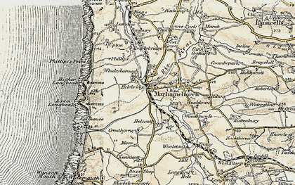 Old map of Helebridge in 1900