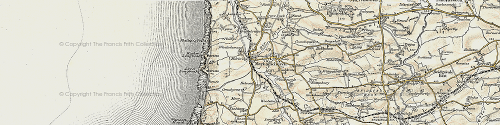 Old map of Whalesborough in 1900