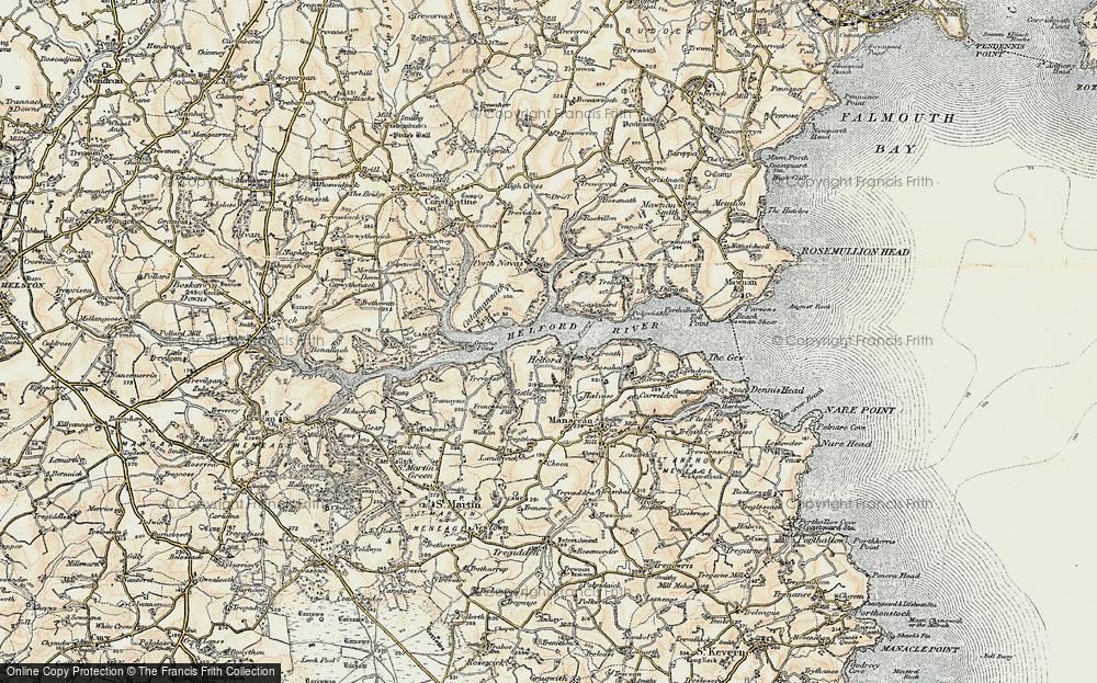 Old Map of Helford, 1900 in 1900