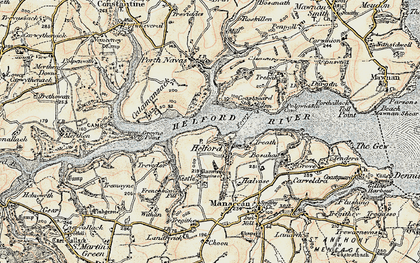 Old map of Helford in 1900