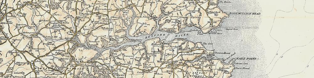 Old map of Helford in 1900