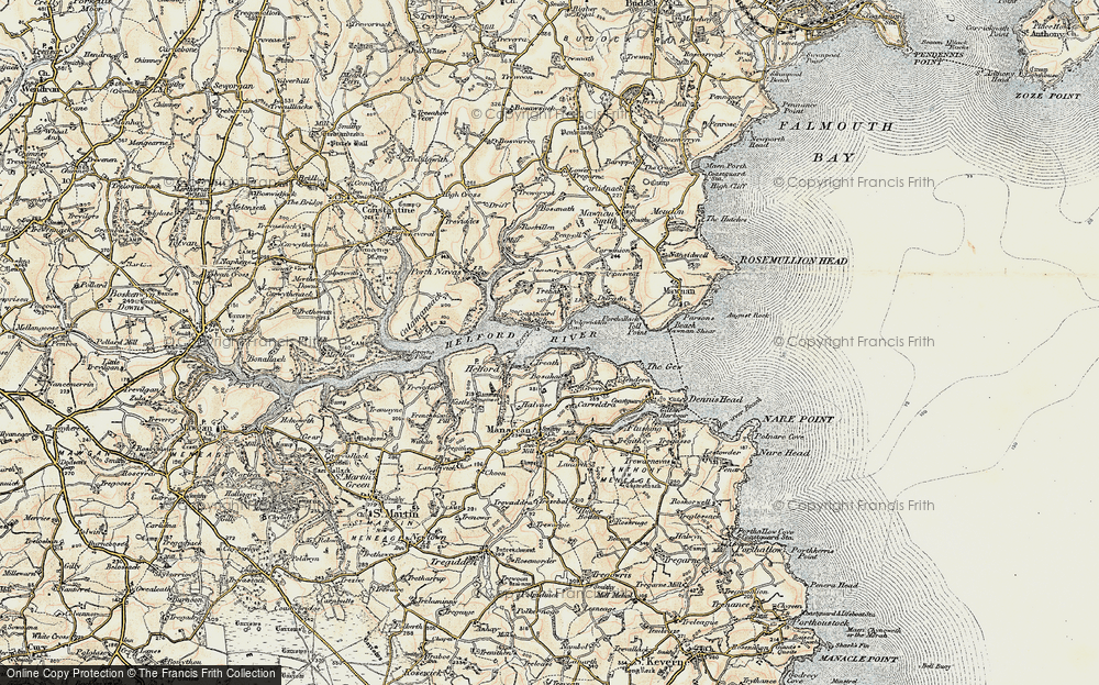 Old Map of Helford Passage, 1900 in 1900