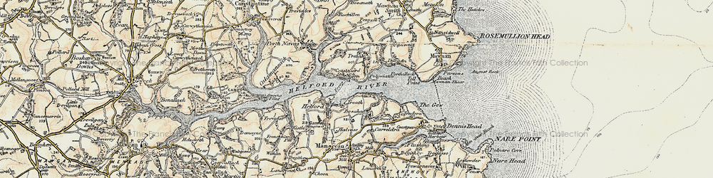 Old map of Helford Passage in 1900