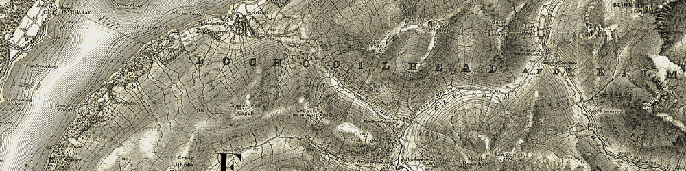 Old map of Tom a' Chrochain in 1906-1907