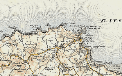 Old map of Hellesveor in 1900
