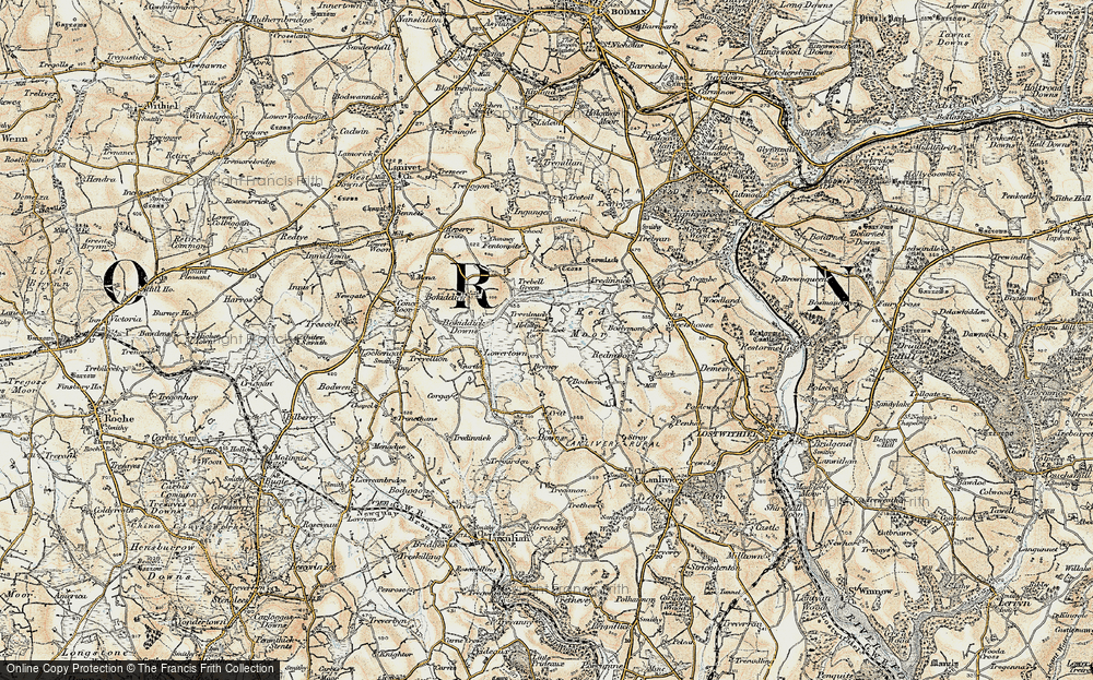 Old Map of Historic Map covering Helmen Tor in 1900