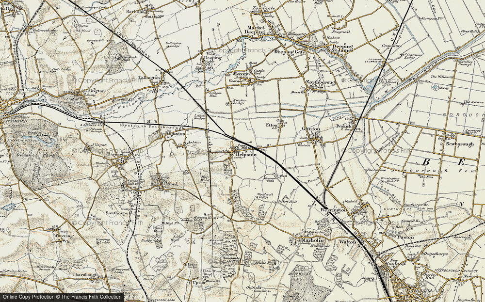 Old Map of Historic Map covering Woodcroft Castle in 1901-1902