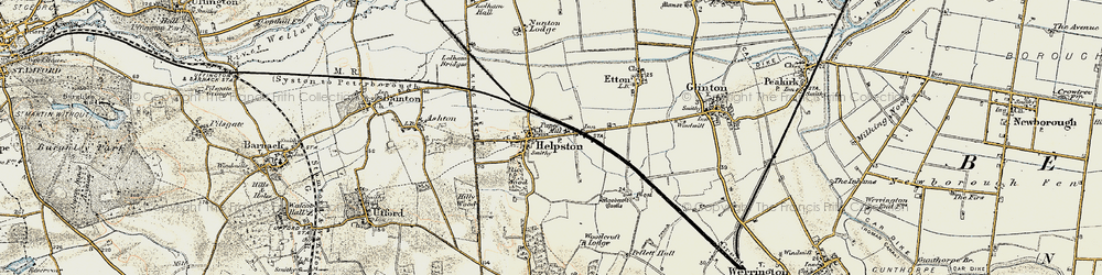 Old map of Helpston in 1901-1902
