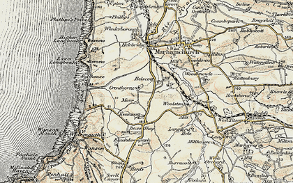 Old map of Helscott in 1900
