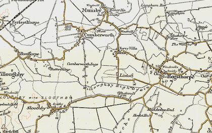 Old map of Willoughby High Drain in 1902-1903