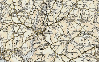Old map of Helston in 1900