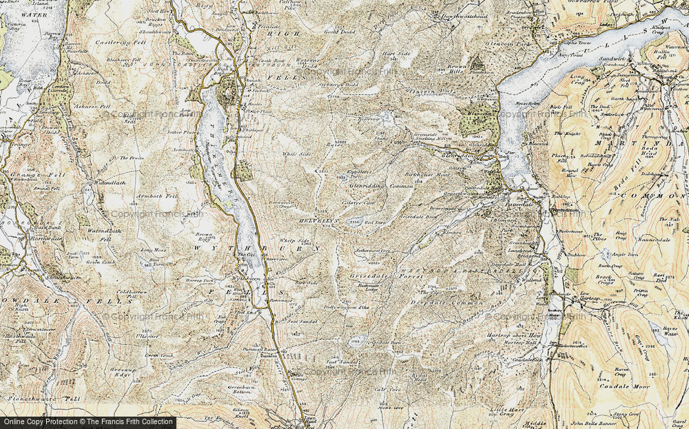 Old Map of Historic Map covering Wythburn in 1901-1904