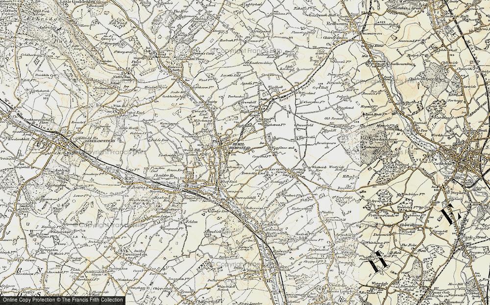 Old Map of Hemel Hempstead, 1898 in 1898