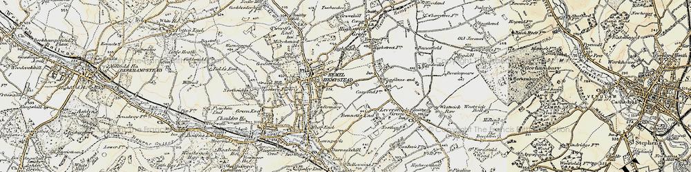 Old map of Hemel Hempstead in 1898
