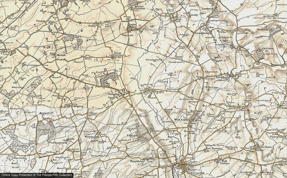 Old Map of Historic Map covering Asterby Grange in 1902-1903