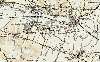 Old map of Hemingford Grey in 1901