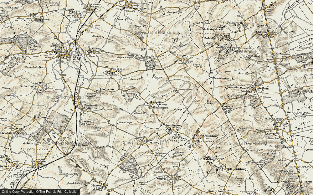 Old Map of Historic Map covering Ashton Wold in 1901