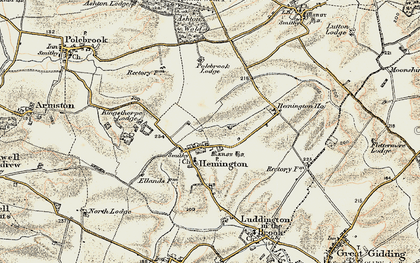 Old map of Ashton Wold in 1901