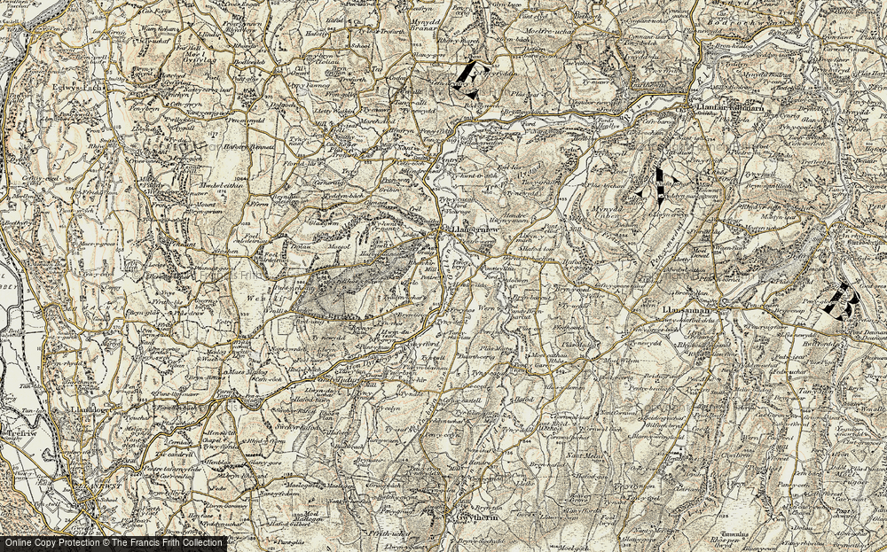 Old Map of Historic Map covering Afon Gallen in 1902-1903